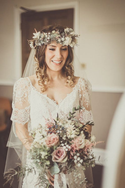 Matching flower crown and bouquet