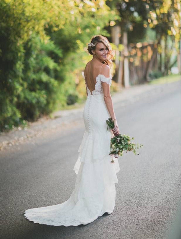 Watters off the shoulder wedding dress