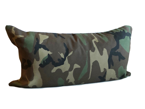 "Camo and Black & White Gingham 14"" x 26"" Pillow"