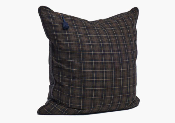 Stowe Flannel Pillow In Brown & Black - 26""