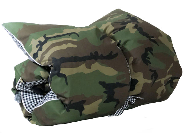 Camo and Black & White Gingham Throwbed