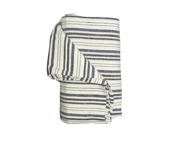 Deauville Navy & Black Linen Beach Towel