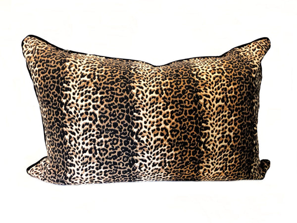 Headboard Cushion in Leopard and Black Velvet