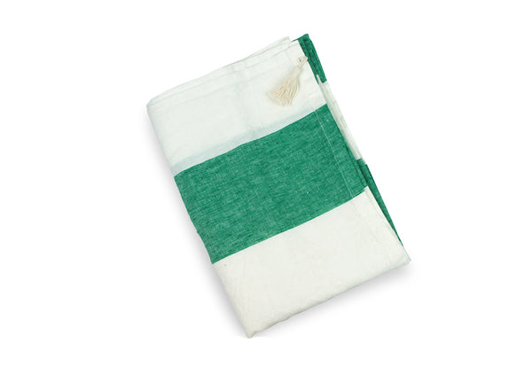 Harbour Island Green Linen Beach Towel | Hedgehouse