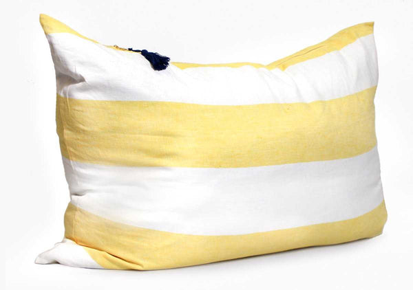 Harbour Island Double Sided Headboard Cushion In Yellow | Hedgehouse