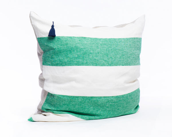 "Harbour Island Pillow In Green - 26"" x 26"" 