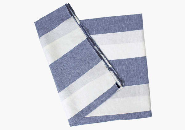 Harbour Island Blue Linen Beach Towel | Hedgehouse