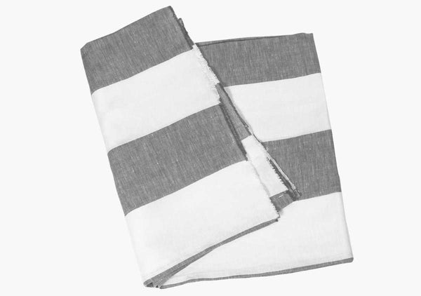 Harbour Island Charcoal Linen Beach Towel | Hedgehouse