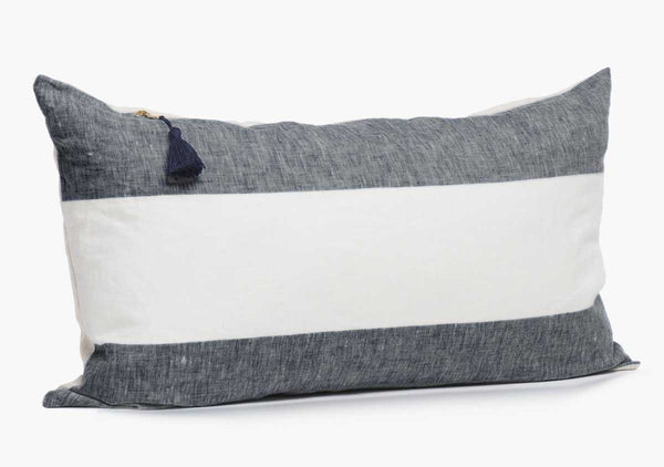 "Harbour Island Pillow In Charcoal - 14"" x 26"" 