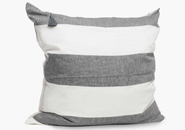 "Harbour Island Pillow In Charcoal - 26"" x 26"" 