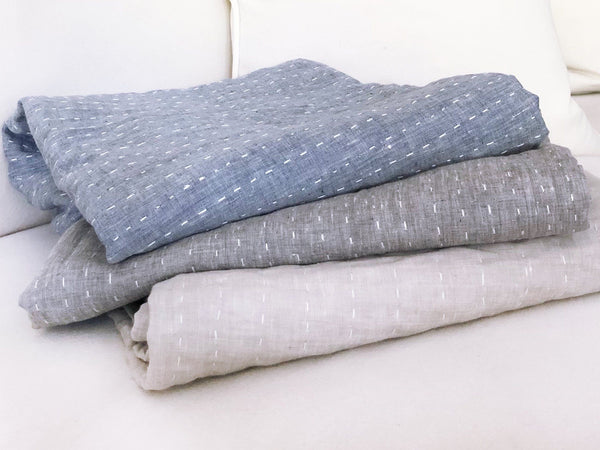 Kantha Quilted Throw Blanket in Solid Blue