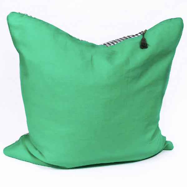 "Kelly Green Linen and Black Cotton Gingham  - 26"" x 26"""