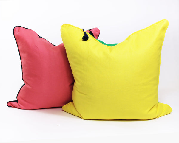 Lula Mae Pillow In Yellow with Green- 26"