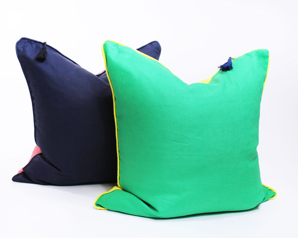 Lula Mae Pillow In Navy with Coral - 26"