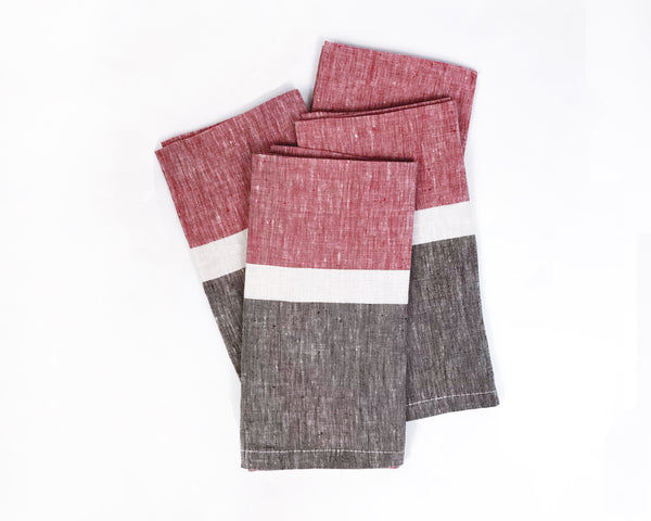 Majorca Napkin in Red and Chocolate