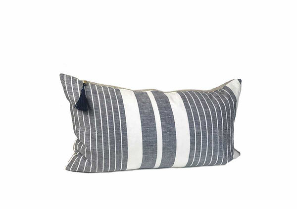 "Majorca Vieja Narrow Stripe Midnight Blue 14"" x 26"" Pillow 
