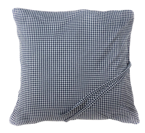 Gingham Mini Throwbed in Navy with Soft Pink Back and Pipe