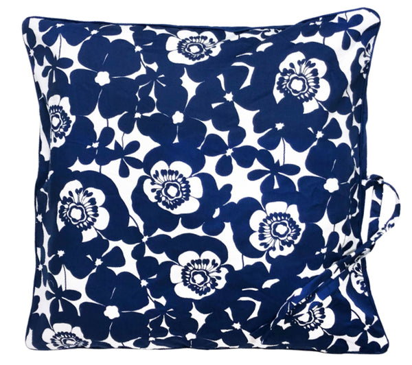 Bold Floral Mini Throwbed in Deep Blue with Solid Back and Pipe