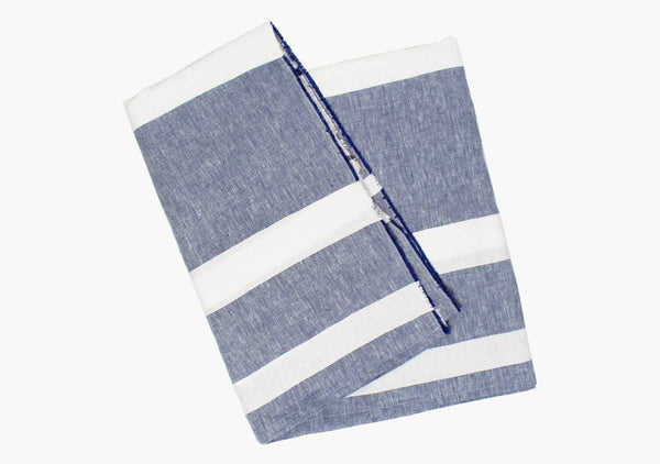 Majorca Blue Linen Beach Towel
