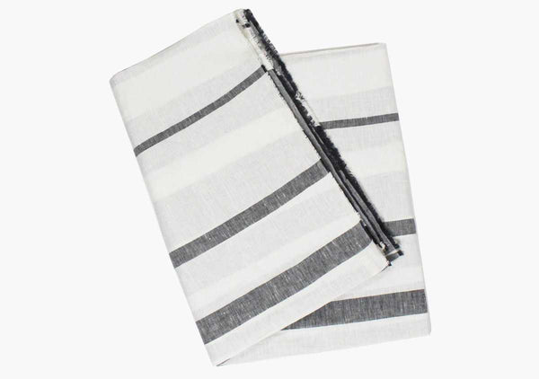 Majorca Charcoal Linen Beach Towel