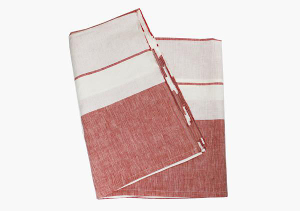 Majorca Red Linen Beach Towel
