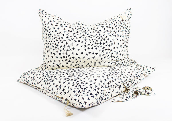 Normandy II Headboard Cushion In Blue Crosses | Hedgehouse