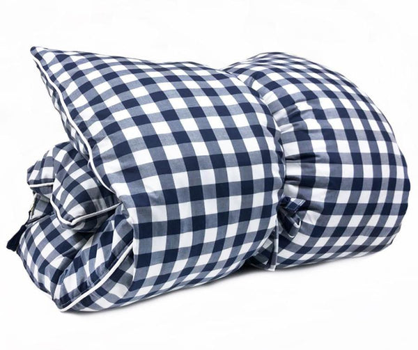 Navy Buffalo Check with White Pipe Throwbed | Hedgehouse