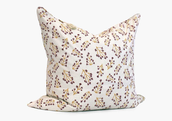 "Normandy II Pillow in Garnet and Gold Branches - 26"" x 26"" 