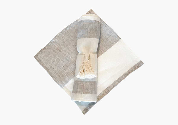 Majorca Cocktail Napkins in Oatmeal (Set of 6) | Hedgehouse