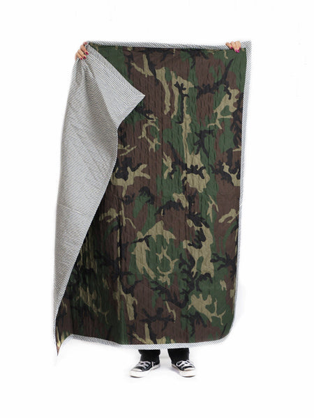 Quilted Throw in Camo and Toulouse in Blue