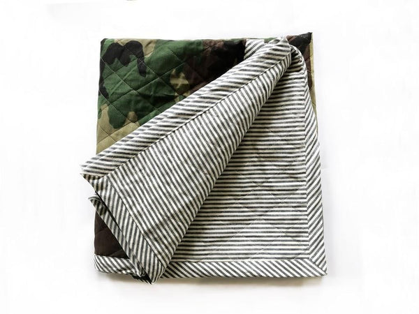 Quilted Throw in Camo and Toulouse in Indigo