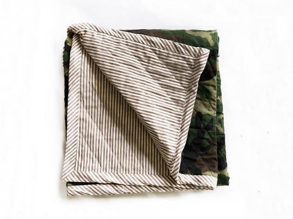 Quilted Throw in Camo and Toulouse in Brown