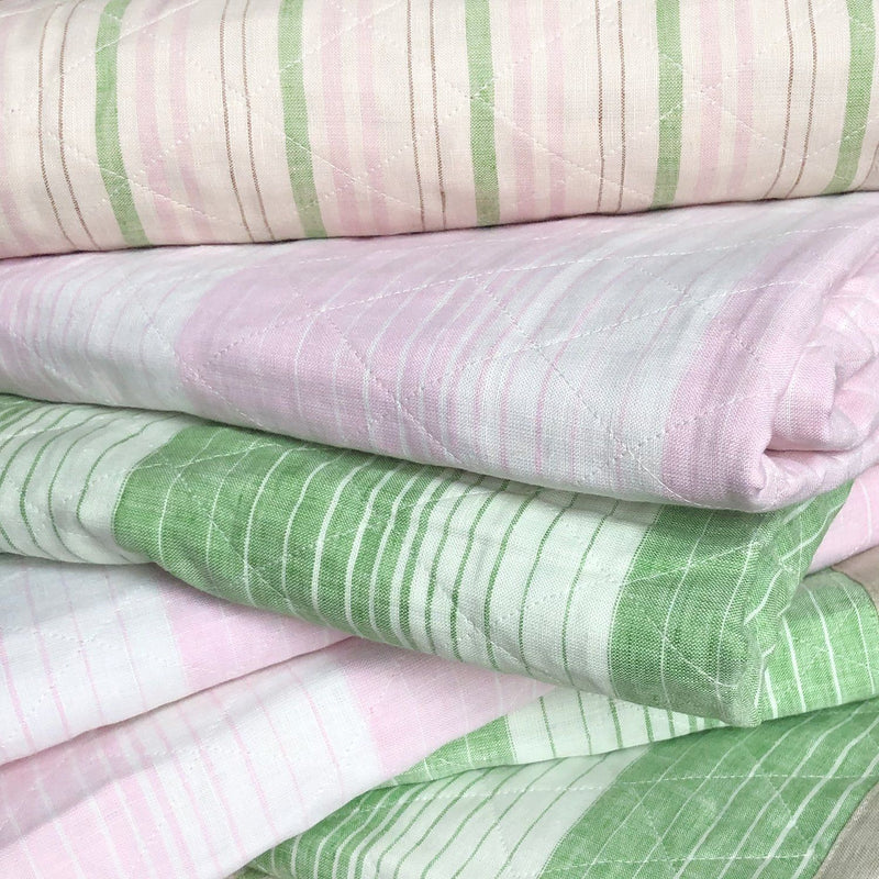 Quilted Linen Throw in Deauville Pink & Green