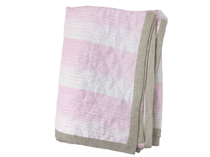 Quilted Linen Throw in Cortina Pink