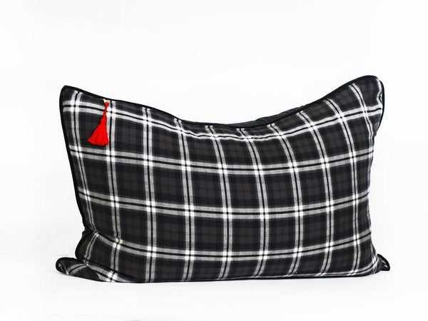 Headboard Cushion in Black and Brown Plaid Flannel with Velvet Back