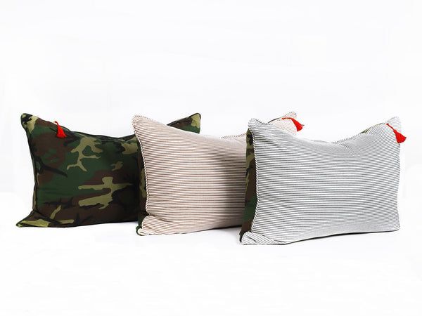 Headboard Cushion in Camo and Toulouse Blue