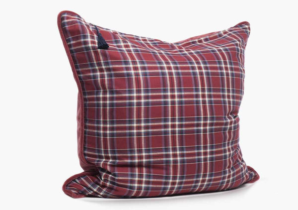 Winston Flannel Pillow In Red & Blue - 26"
