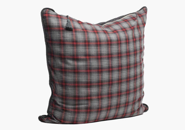 Stowe Flannel Pillow In Red & Charcoal - 26""