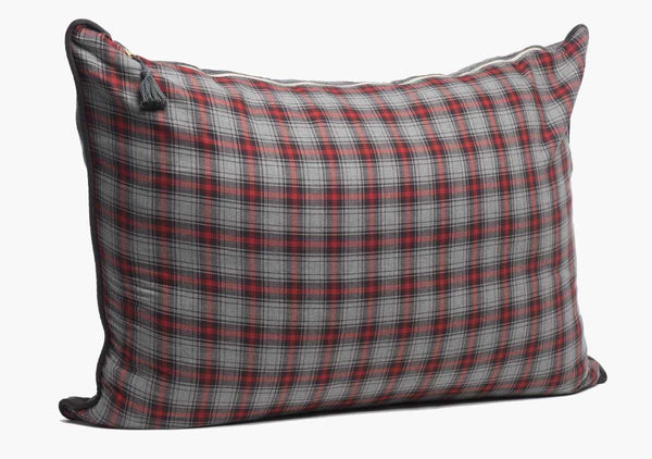 Stowe Flannel Headboard Cushion In Red & Charcoal