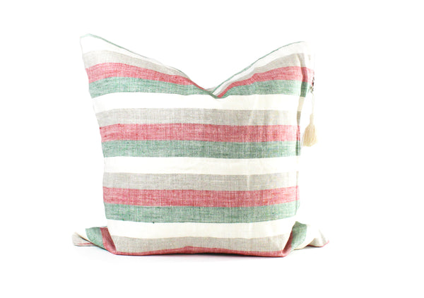 "Roma Pillow in Red, Green and Ivory - 17"" x 17"" 