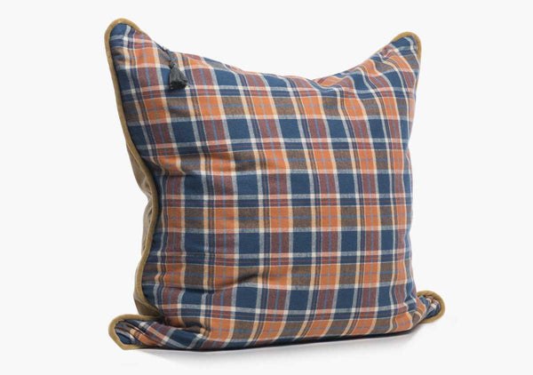 Winston Flannel Pillow In Rust & Blue - 26"