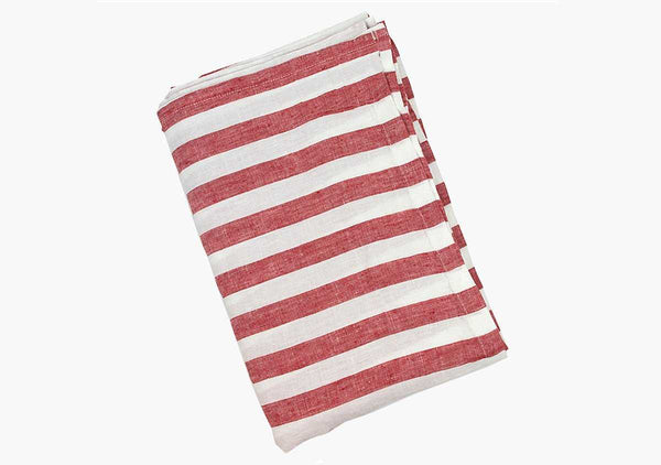Sur La Mer Red Linen Beach Towel