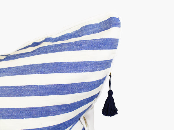 "Sur La Mer Pillow In Blue Wide with White Pipe - 26"" x 26"" 
