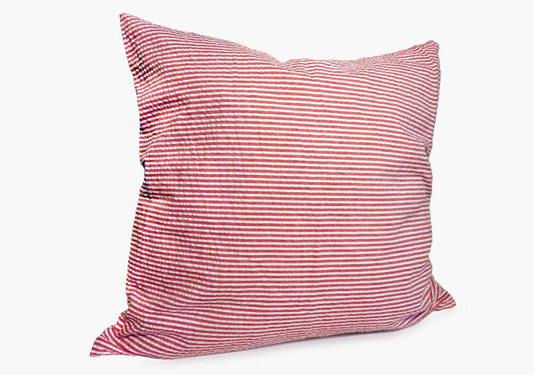 "Throw Pillow in Red Seersucker - 17"" x 17"" 
