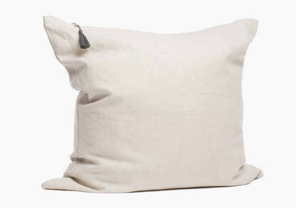 "26"" x 26"" Throw Pillow in Oatmeal Solid Cotton & Linen"