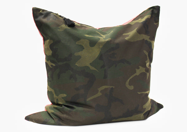 Pillow In TexWax Camo & Red Stripe - 26"