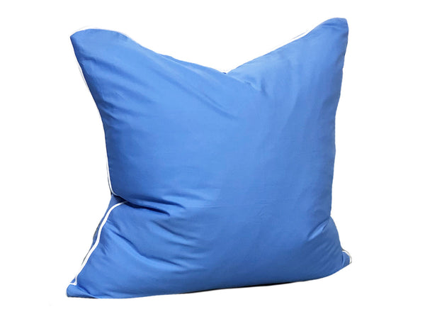 Aveira Throw Pillow in Cobalt Shirtcloth with White Pipe – 26"