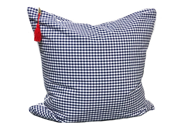 Gingham Throw Pillow in Blue with White Pipe – 26"