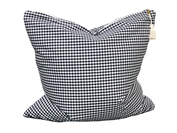 Gingham Throw Pillow in Black with White Pipe – 20""