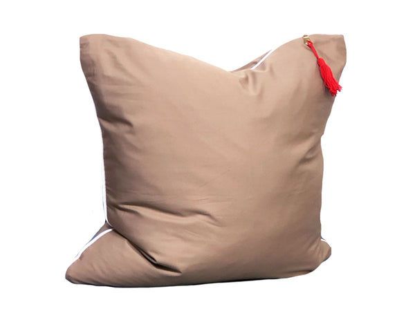 Aveira Throw Pillow in Khaki Shirtcloth with White Pipe – 26"
